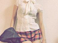 Bow_blouse_x_plaid_shorts_-_kayo_k__thumb