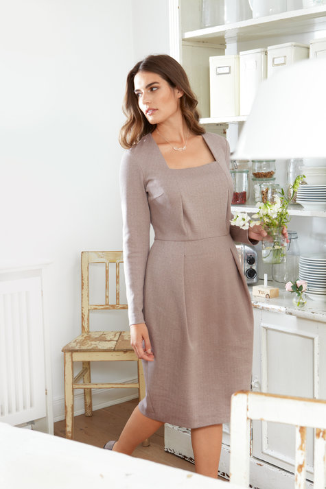 Square Neck Jersey Dress With Darts Plus Size 112014 127