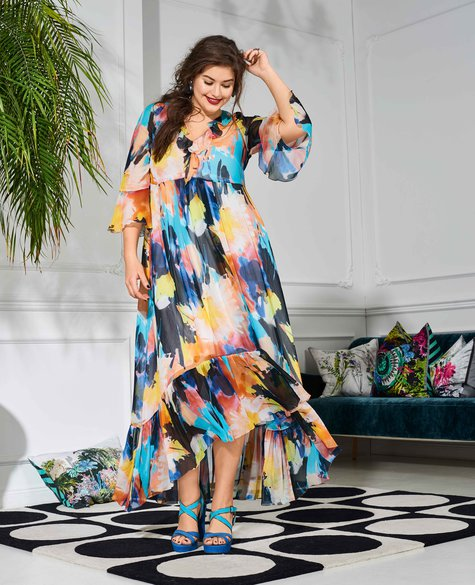 Ruffled Maxi Dress (Plus Size) 04/2017 #122 – Sewing Patterns ...