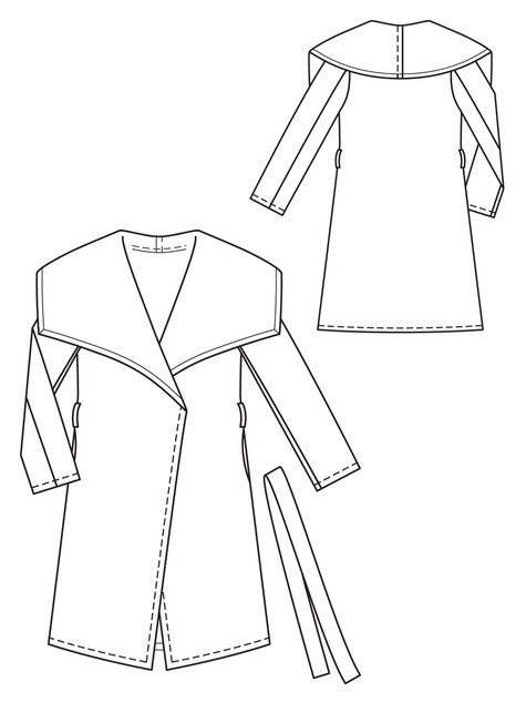 Belted Wrap Coat 10/2012 #103 – Sewing Patterns | BurdaStyle.com