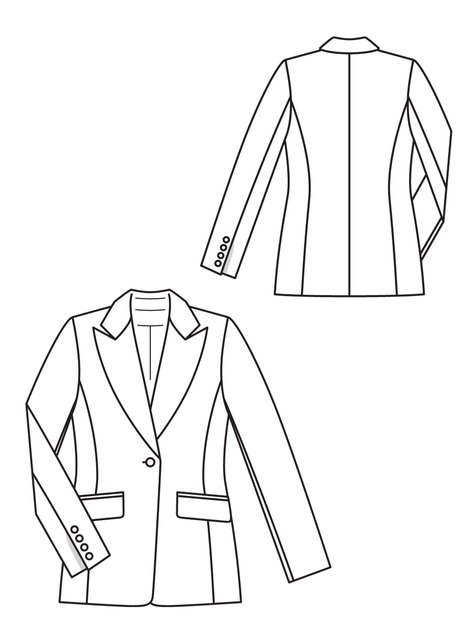 Tailored Blazer 6060 60B Sewing Patterns BurdaStyle Cool Blazer Pattern