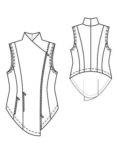 ZipUp Vest Plus Size 402403 40 Sewing Patterns BurdaStyle Best Vest Patterns