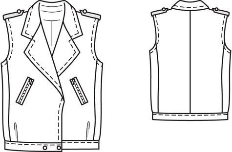 Herringbone Biker Vest 4040 40 Sewing Patterns BurdaStyle Custom Vest Patterns