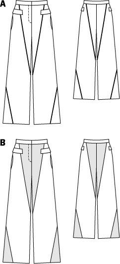 Paneled Wide Trousers 02/2015 #116B