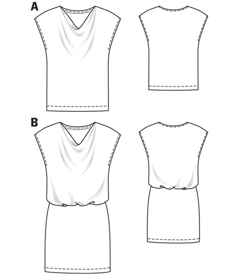Cowl Neck Dress (Plus Size) 04/2012 #139B – Sewing Patterns ...
