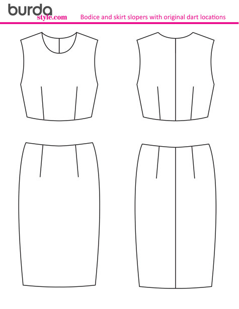Technical Drawing Template: Bodice & Skirt Sloper – Sewing Patterns ...