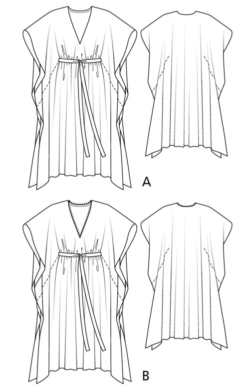 V-Neck Kaftan 07/2017 #105A – Sewing Patterns | BurdaStyle.com