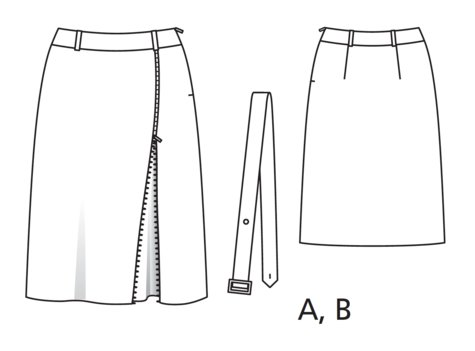 Zippered Midi Skirt (Plus Size) 08/2017 #126B