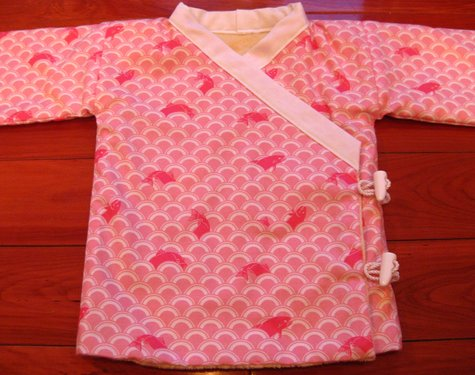 Minky Lined Baby Kimono Jacket with Toggle Buttons in Pink Koi Print ...