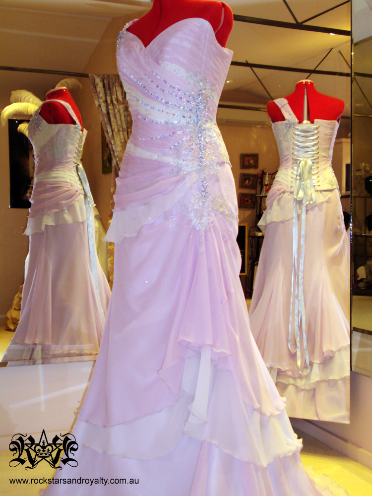 Wedding Gown Lilac And Silver Chiffon Corset And Skirt