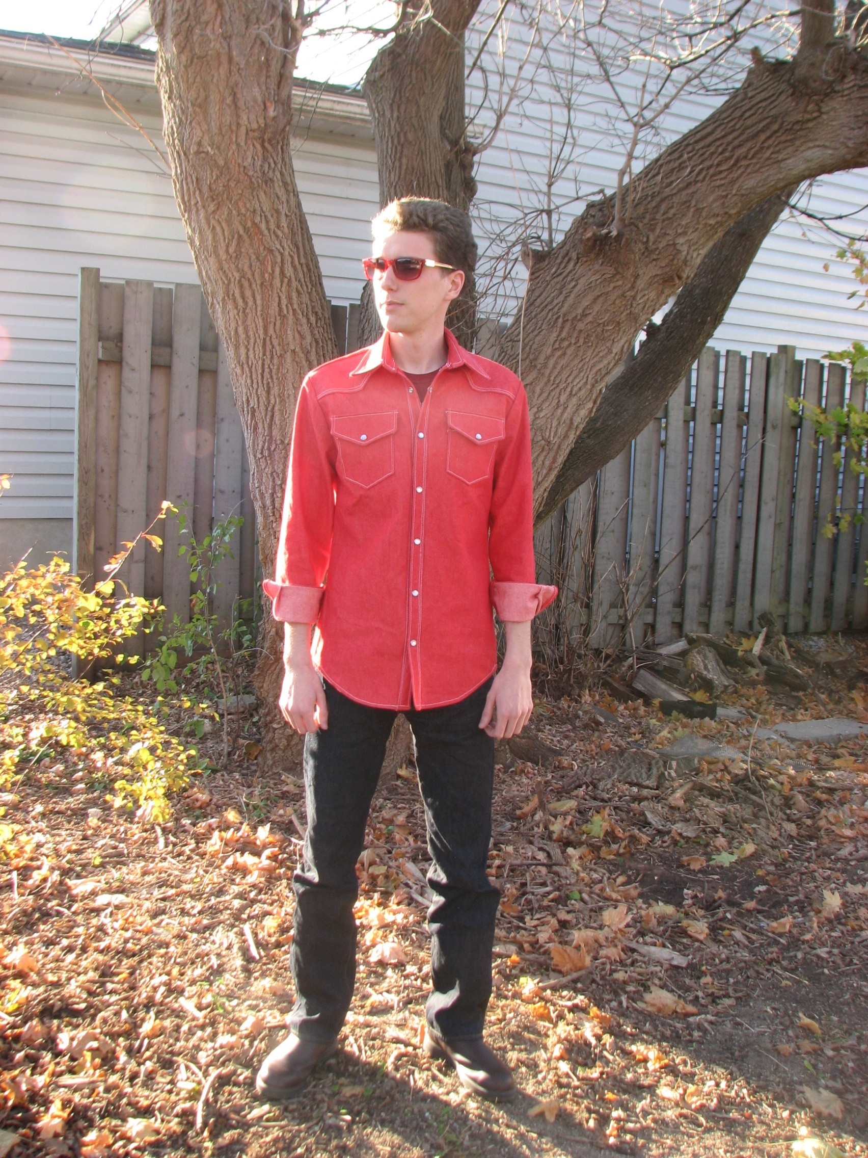 0a24fed900f Men s Red Denim Cowboy Shirt – Sewing Projects