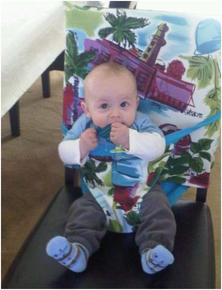 portable fabric high chair for use at dinnertime anywhere sewing