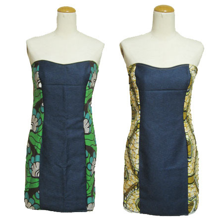 African Batik×denim Dress Sewing Projects BurdaStyle Cool African Dress Patterns For Sewing