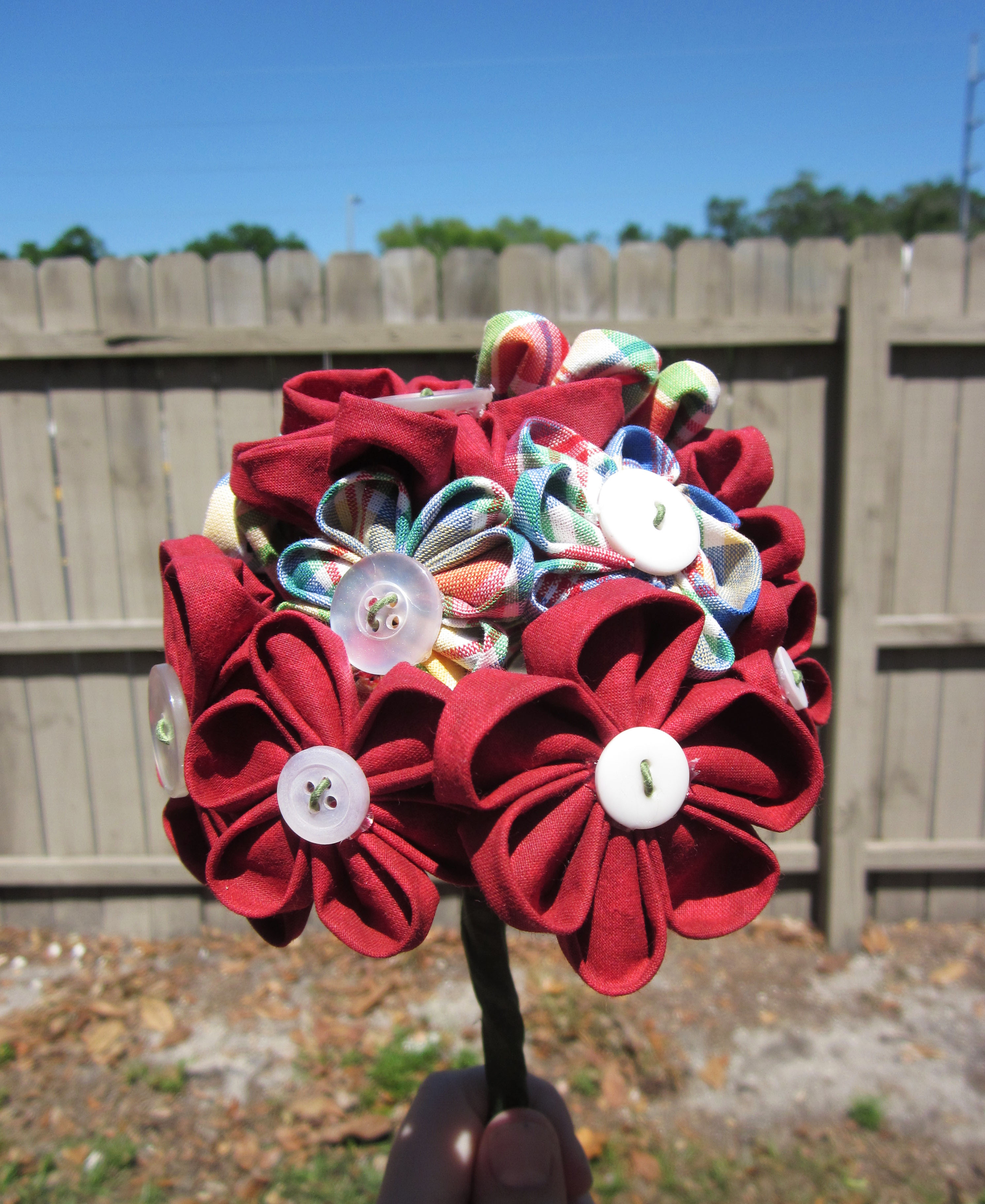 Country Red Fabric Flower Bouquet Sewing Projects Burdastyle