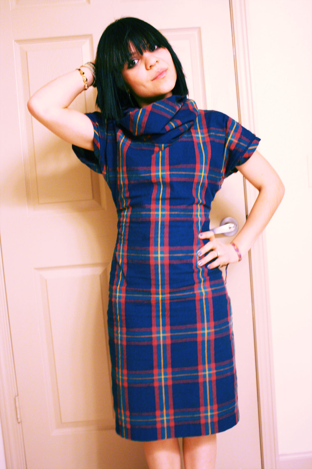 Cowl Neck Blue Plaid Dress Sewing Projects Burdastyle Com