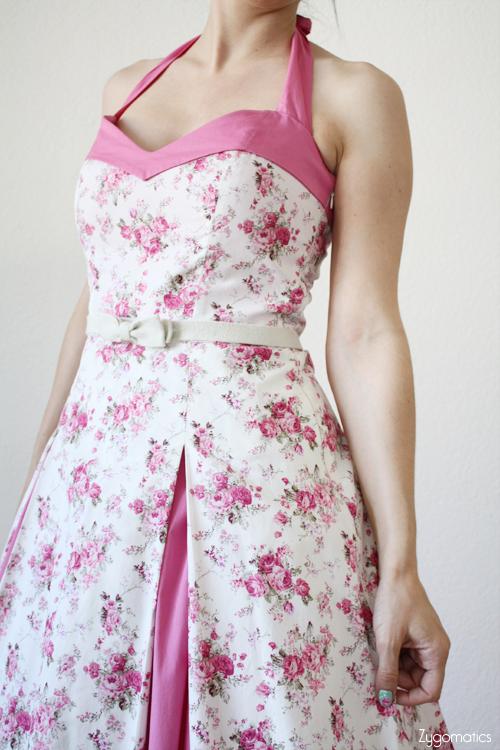Pink Liberty Pin-up Halter Dress – Sewing Projects | BurdaStyle.com