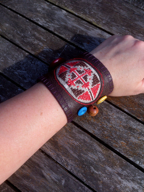 Leather And Hand Embroidery Wrist Cuff Bracelet Sewing