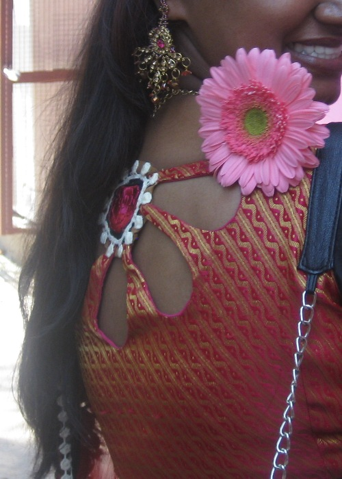 Princess Cut Indian Blouse Flower Cut Out At Back