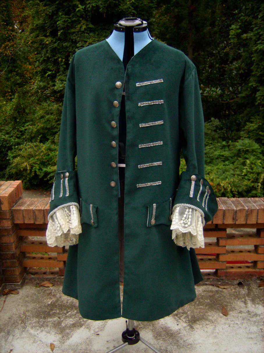 1700 S Green Pirate Costume Coat Client Project Sewing
