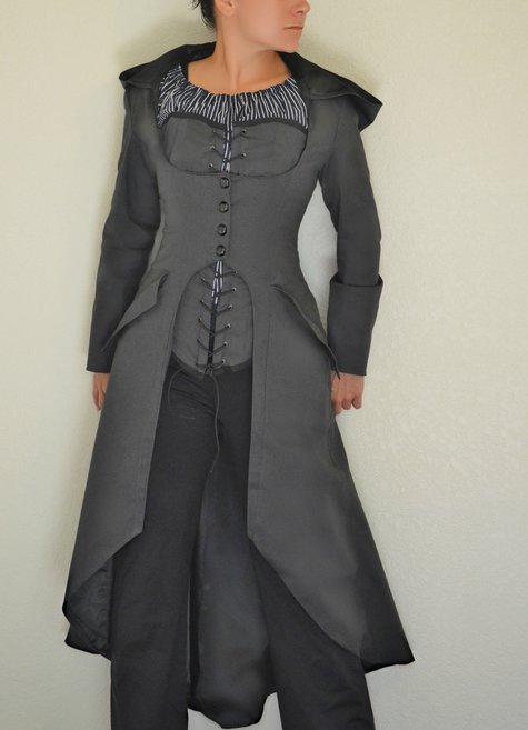 Dark Gray Hooded Steampunk Corset Coat Corset Amp Chemise