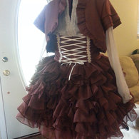 Brown_chiffon_skirt_front_complete_ensemble_listing