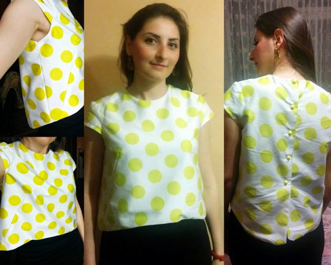 Cap sleeve crop top in yellow polka dots – Sewing Projects ...