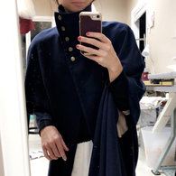 Katie_navy_high_collar_stand_up_wool_cape_cloak_jacket_coat_burdastyle_gold_irish_buttons_notre_dame_tailored_handmade_bespoke_crossover_asymmetrical_long_slits_2__listing