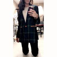 Christine_plaid_tartan_sports_jacket_dark_green_navy_blue_gold_mortan_check_coat_piccolas_anagrassia_cognac_leather_pockets_and_button_16_listing